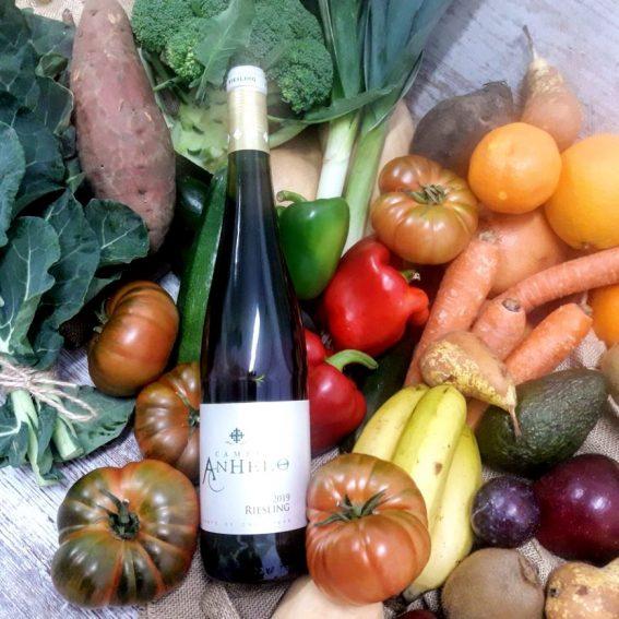 Caja Grande de Fruta y Verdura Bio de Temporada con Vino Blanco